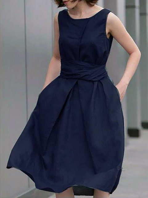 Women Daytime Sleeveless Cotton Elegant Bow  Summer Dress