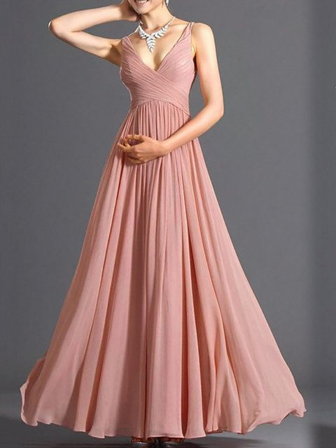 V neck Pink Swing Women Evening Cotton Sleeveless  Prom Dress