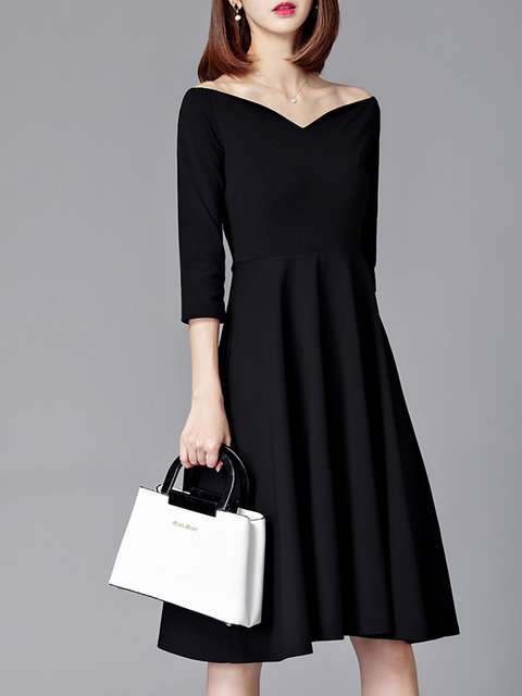 28a00bdaaa7 Off Shoulder Black Swing Women Going out 3 4 Sleeve Cotton Elegant Elegant  Dress