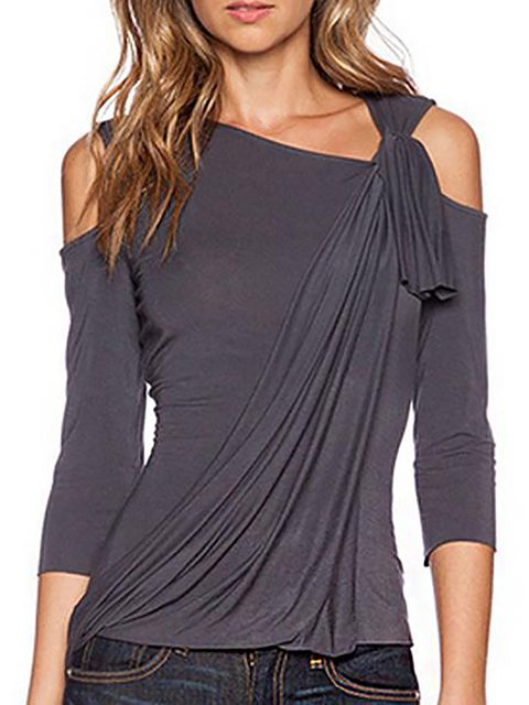 One Shoulder Asymmetric Paneled T-Shirt