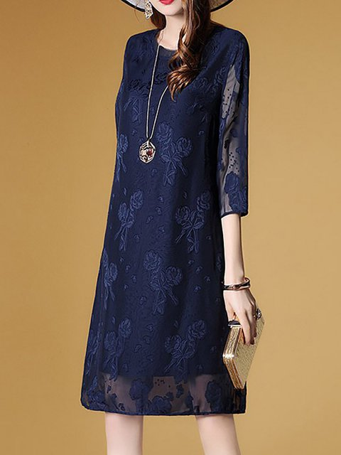 Blue Going out Sleeve Elegant Women Dress Floral Elegant 3 4 Cotton Shift rqpTExr
