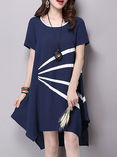Blue Asymmetrical Women Date Short Sleeve Cotton-blend Elegant Slit  Casual Dress