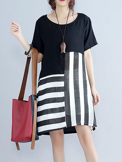 Black Women Short Sleeve Elegant Cotton Paneled Striped Casual Dress