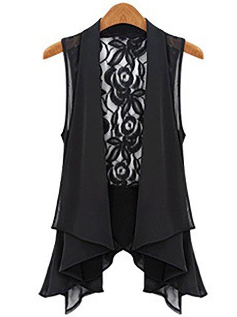 Black Casual Paneled Chiffon Camis