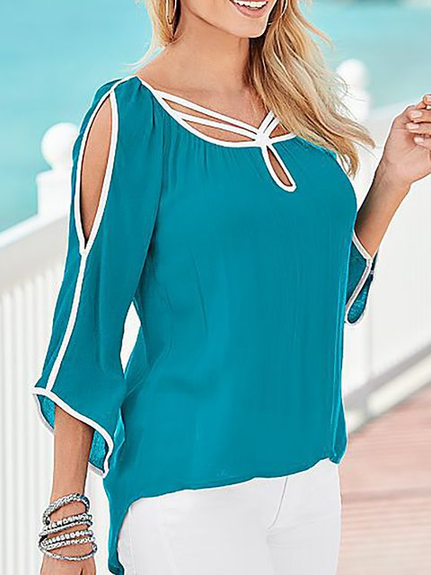 Batwing Paneled Cold Shoulder T-Shirt