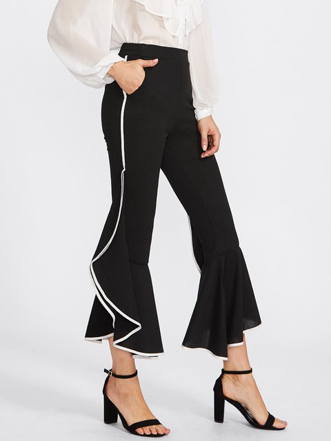 Black Paneled Casual Flared Ruffled Pant