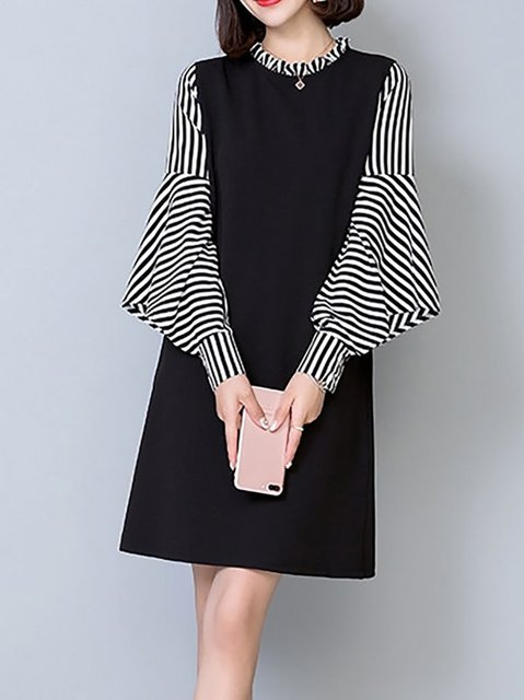Ruffled Black Shift Women Daytime Frill Sleeve Paneled Striped Elegant Dress