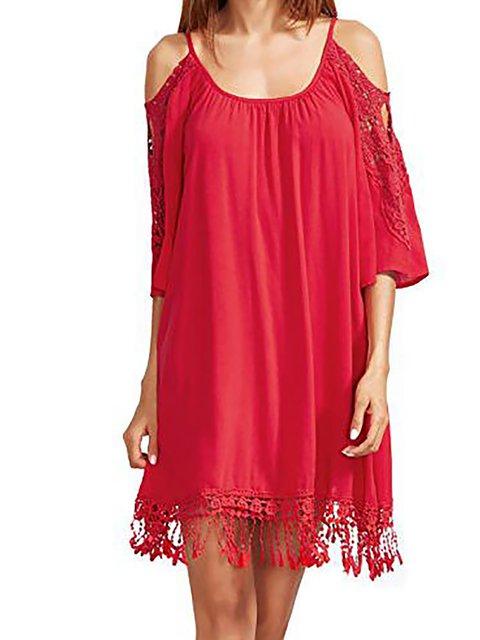 Shift Women Spaghetti Elegant Paneled  Summer Dress