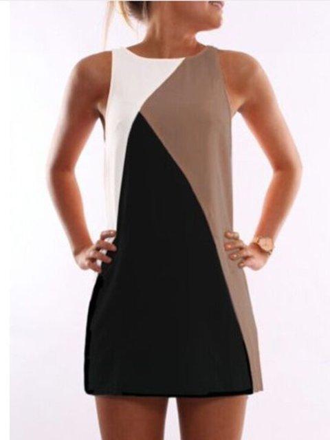 Summer Sleeveless Paneled Dress Cotton Shift Women Daily qX164