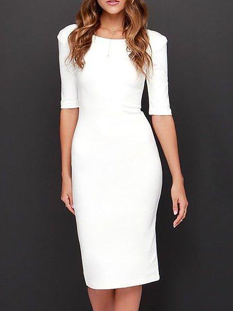 White  Women Evening Half Sleeve Elegant Cotton Backless Prom Dress