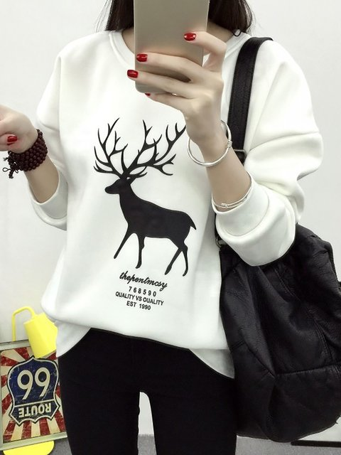 Cotton Painted Long Sleeve Sweatshirts