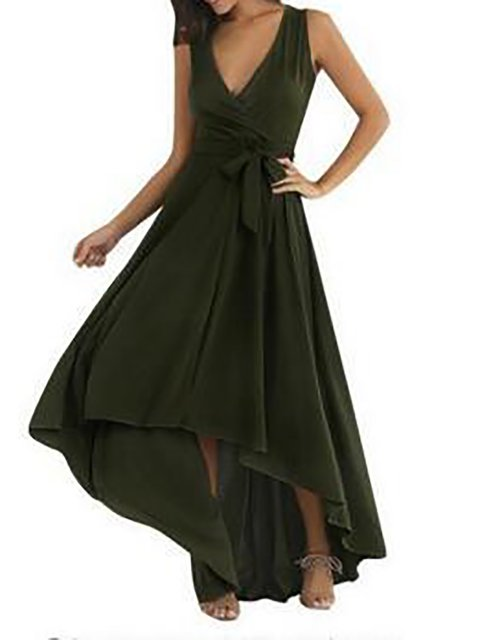V neck Army green Swing Women Going out Elegant Cotton Sleeveless Paneled  Prom Dress