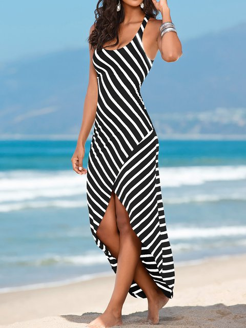 Swing Women Daytime Sleeveless Stripe Ruffled Striped Summer Dress