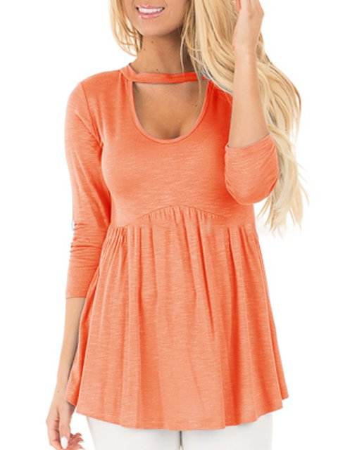 Casual Ruched Long sleeve T-Shirt