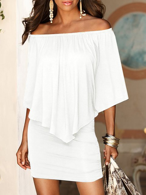 Off Shoulder  Sheath Women Going out Cotton Elegant Half Sleeve Paneled Striped Summer Dress