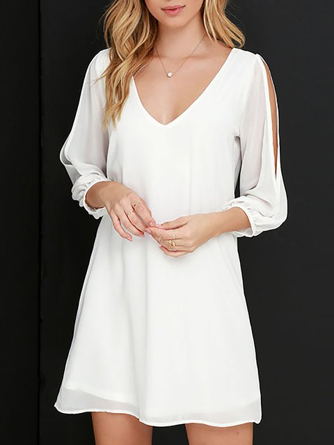 Women  3/4 Sleeve Casual Paneled  Summer Dress