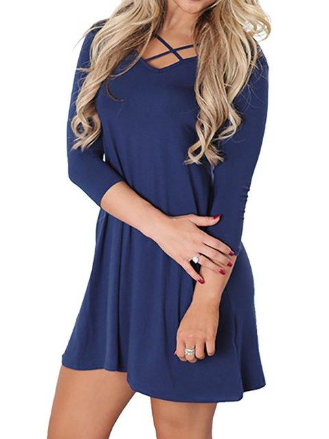Women Daily Cotton Long Sleeve  Summer Dress