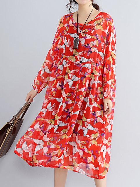 Red A-line Women Daytime Long Sleeve Casual Slit Floral Casual Dress