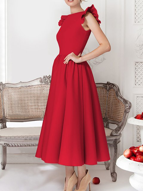 Swing Women  Casual Short Sleeve Cotton Paneled Prom Dress