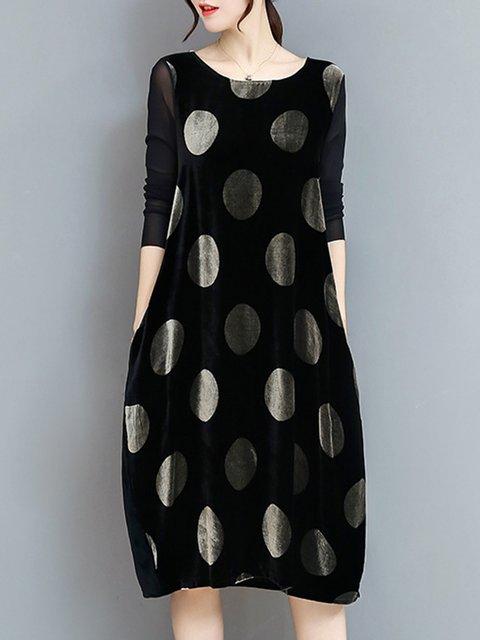 Black Sheath Women Daytime Long Sleeve Cotton-blend Sweet Paneled Polka Dots Elegant Dress