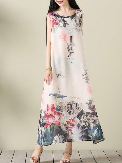 White Women Daytime Sleeveless Cotton-blend Tribal Elegant Dress