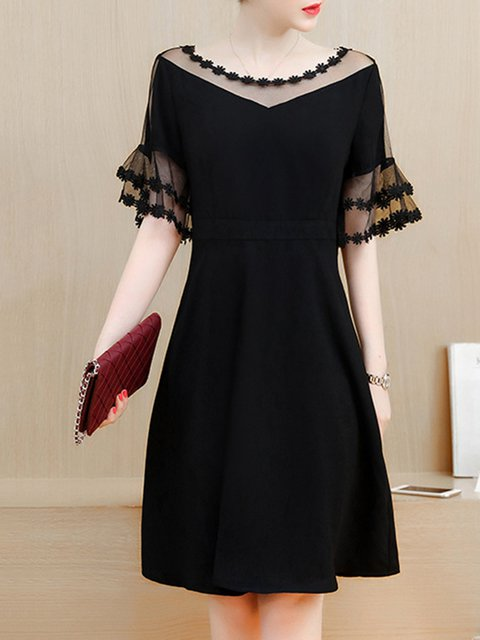Black A-line Women Going out Frill Sleeve Paneled Plain Elegant Dress