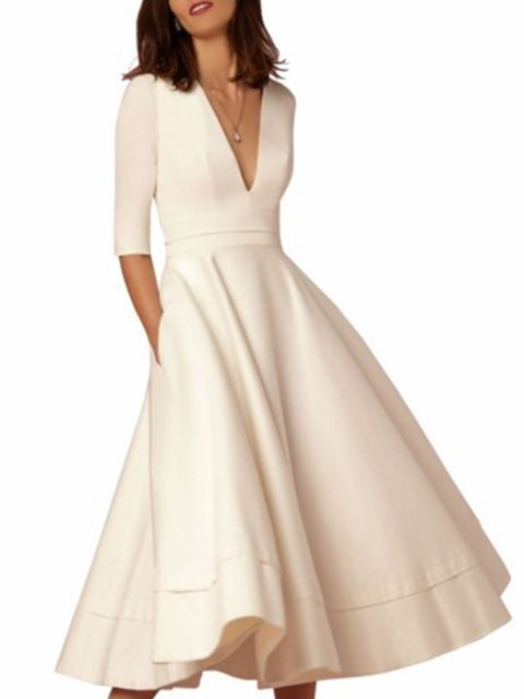 Women Daily 3/4 Sleeve Paneled Prom Dress