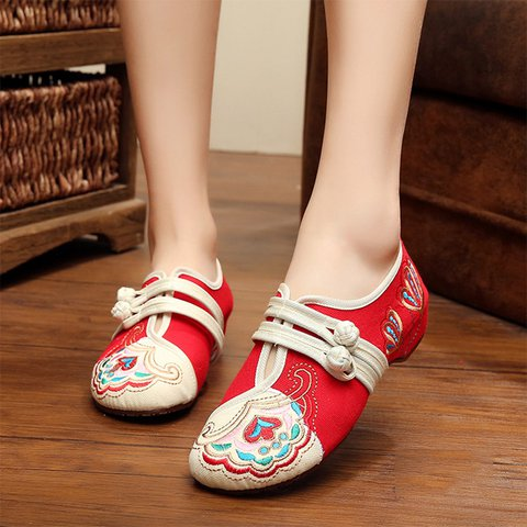 Floral Embroidered Button Strap Loafers