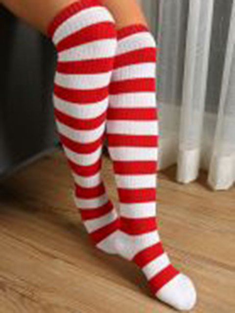 Casual Stripes Cotton-blend Breathable Sock