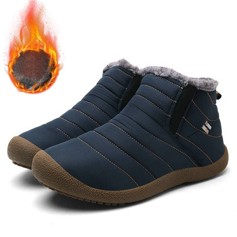 Waterproof Cloth Slip On Snow Boots