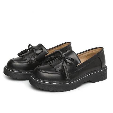 British Style Tassel PU Slip On Loafers