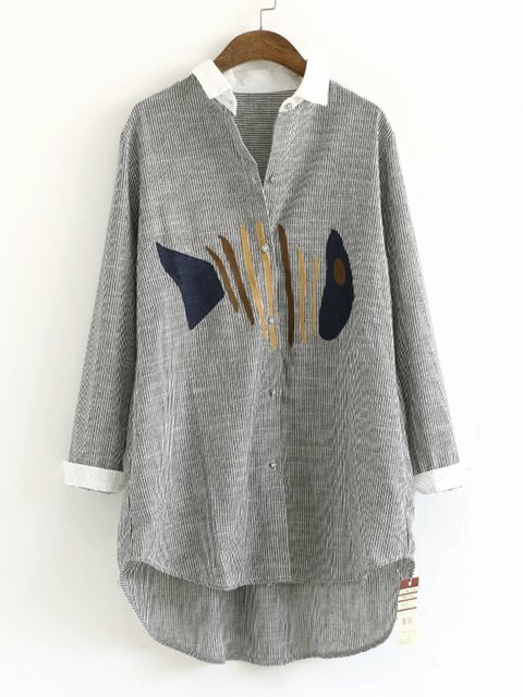 Animal Embroidered Shirt Collar Plus Size Shirt