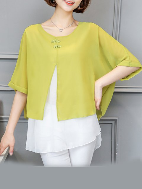 Long Sleeve Chiffon Crew Neck Blouse