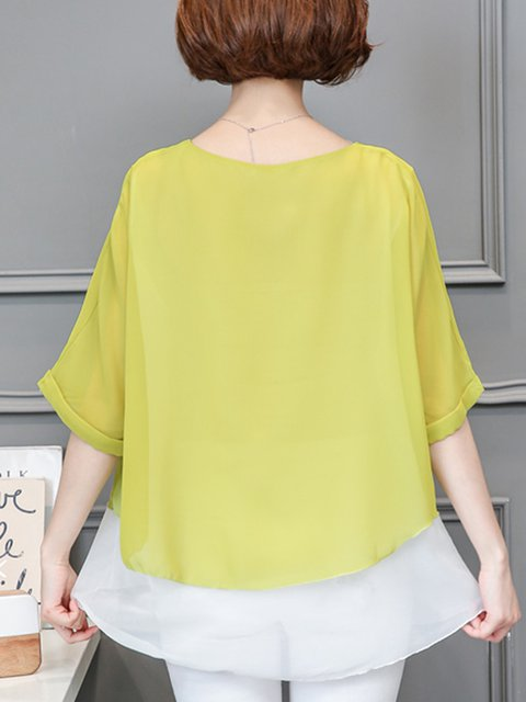 Chiffon Neck Crew Long Blouse Sleeve pqFwS8