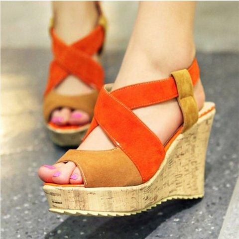 Wedge Heel Suede Color Block Sandals