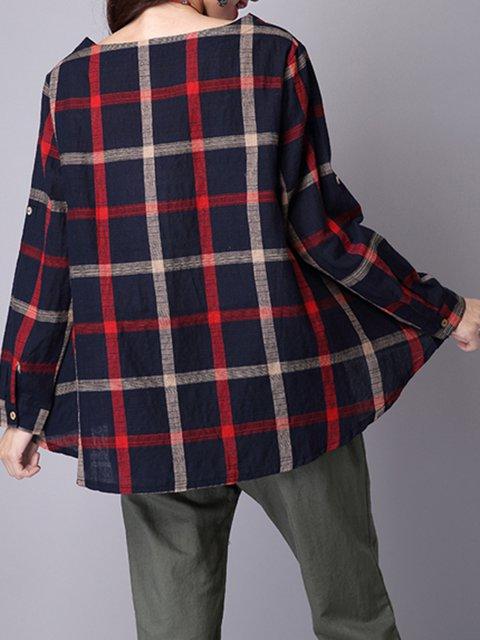 Cotton Crew Sleeve Shirt Pockets Neck Long blend T Casual qatrZaw