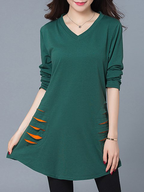 Solid Casual Cotton-blend Long Sleeve Ripped Blouse