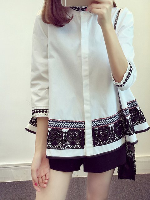 Casual Long Sleeve Cotton-blend Blouse