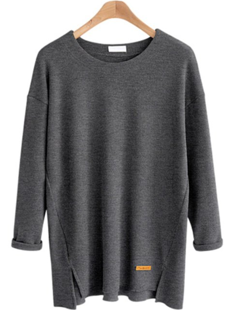 Cotton-blend Slit Long Sleeve Crew Neck T-Shirt