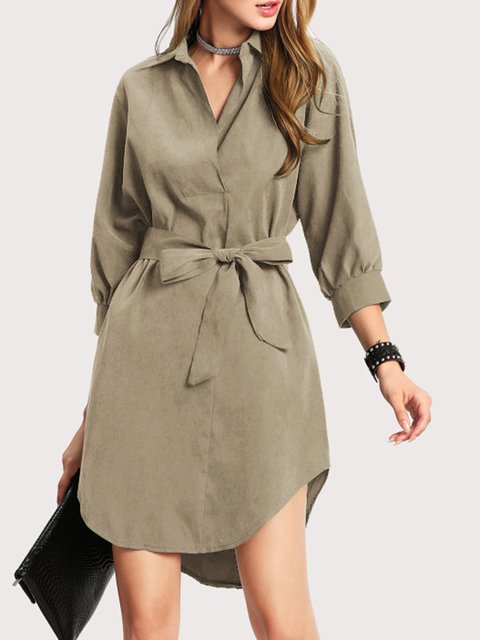 Shirt Collar  Women Cotton-blend Casual Long Sleeve  Solid Summer Dress