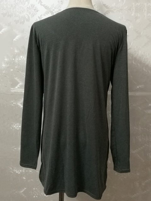 Shirt Casual Cotton Neck T blend Solid V wqYHAA