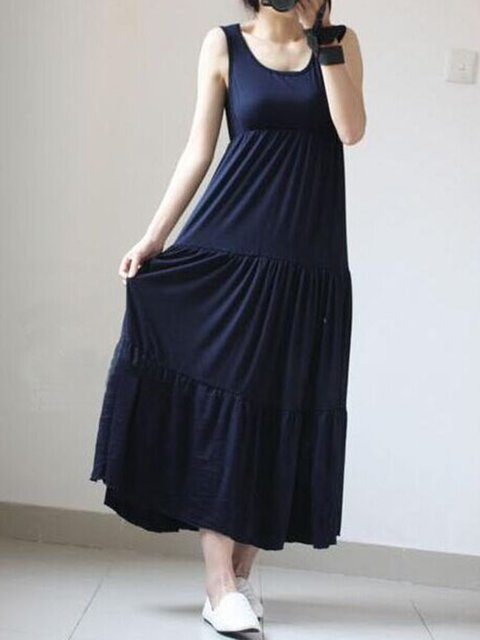A-line Women Beach Casual Sleeveless  Solid Casual Dress