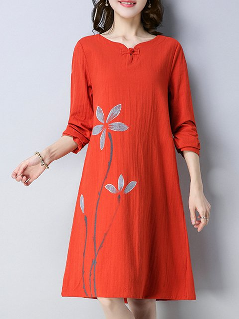 V neck  Women Daily Cotton-blend Casual Printed Elegant Dress