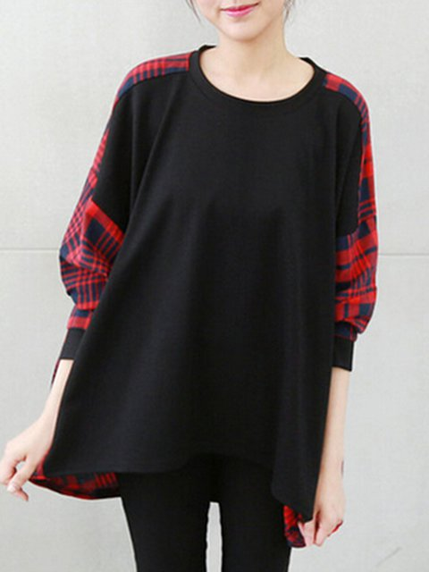 Black Paneled Casual Crew Neck Checkered/Plaid T-Shirt