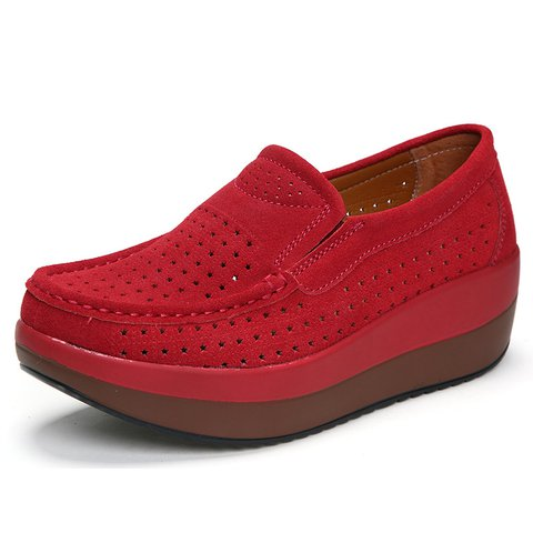 Hollow-out Genuine Leather Casual Creepers & Wedges