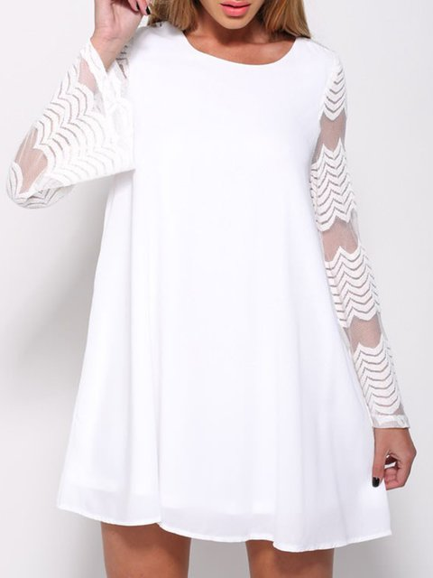 Daily Dress Lace Paneled Summer Women Solid Sleeve Long wqFdHz