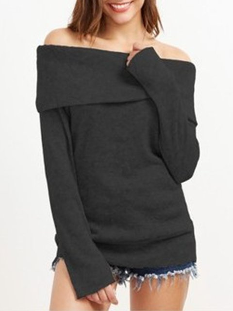 Solid Cotton-blend Long Sleeve T-Shirt