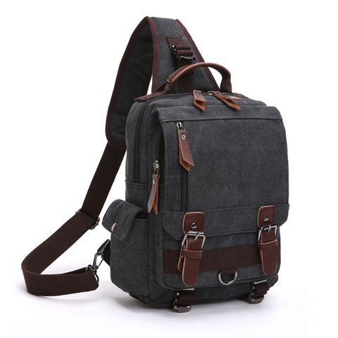 Casual Multi Pockets Outdoor Sport Canvas Shoulder Chest Bag