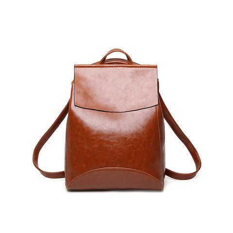 Chic Women PU Leather Multi Pockets Casual Backpack
