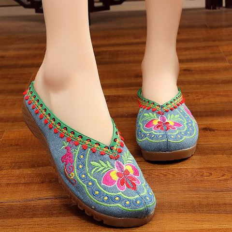 Flower Embroidered Canvas Open Heel Slippers